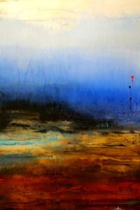"SOLD ""Through Earth and Sky,"" by Laura Harris 40 x 60 – acrylic/mixed media $5670 (thick canvas wrap without frame)"