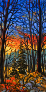 """SOLD """"Through the Thicket,"""" by Rod Charlesworth 10 x 20 – oil $1350 Unframed"""