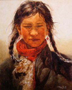 "SOLD ""Tibetan Girl,"" by Donna Zhang 16 x 20 – oil"