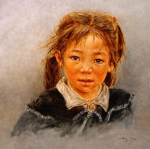 "SOLD ""Tibetan Pearl,"" by Donna Zhang 24 x 24 – oil $4750 Custom framed"