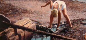 "SOLD ""Tide Pool,"" by Alan Wylie 7 x 14 – oil $1450 Framed"