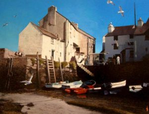 "SOLD ""Tide's Out, Polperro,"" by Alan Wylie 23 x 30 – oil $7250 Framed"