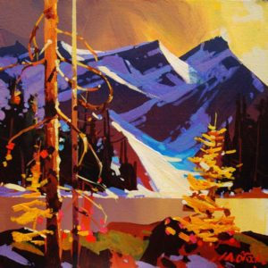 "SOLD ""Timberline of Oesa,"" by Michael O'Toole 12 x 12 – acrylic $815 Framed"