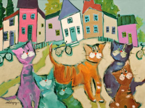 "SOLD ""The Timid Cats,"" by Claudette Castonguay 12 x 16 – acrylic $490 Unframed"