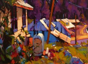 """SOLD """"Tin Roofs (Wells),"""" by Mike Svob 12 x 16 – acrylic $1210 Framed"""