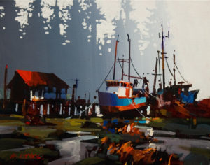 "SOLD ""Tofino on Soft Day,"" by Michael O'Toole 11 x 14 – acrylic $930 Framed"