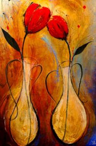 "SOLD ""Together,"" by Laura Harris 40 x 60 – acrylic $6230 (thick canvas wrap without frame)"