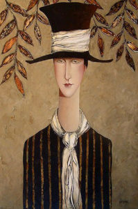 "SOLD ""The Top Hat,"" by Danny McBride 24 x 36 – acrylic $2870 Unframed"