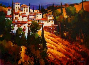 "SOLD ""Toscana Hillside,"" by Michael O'Toole 30 x 40 – acrylic $3060 Framed"