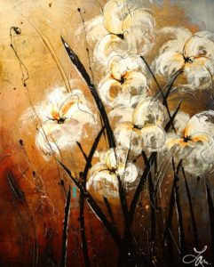 "SOLD ""Touch of Gold Dust,"" by Laura Harris 24 x 30 – acrylic $1700 (thick canvas wrap without frame)"