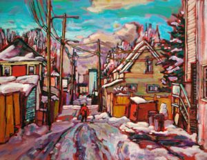"SOLD ""A Touch of Snow in Strathcona,"" by Ed Loenen 14 x 18 – acrylic $935 Framed"