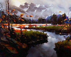"SOLD ""Towards the Columbia Icefields,"" by Michael O'Toole 48 x 60 – acrylic $6500 (canvas wrap without frame)"