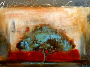 """SOLD """"Tree at the Top of the Hill,"""" by Heather Haynes 30 x 40 – acrylic $2200 (thick canvas wrap without frame)"""