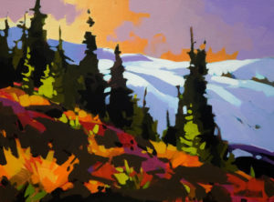 """SOLD """"Trees and Snow, Black Tusk,"""" by Mike Svob 12 x 16 – acrylic $1150 Unframed"""