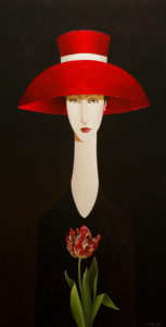 "SOLD ""Tristan and the Tulip,"" by Danny McBride 24 x 48 – acrylic $4100 (thick canvas wrap without frame)"