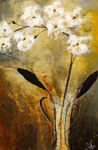 """SOLD """"Tuesday's Gift II,"""" by Laura Harris 24 x 36 – acrylic $2480 (thick canvas wrap without frame)"""