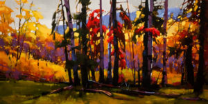 """SOLD """"The Tulameen Valley,"""" by Mike Svob 18 x 36 – acrylic $3675 Unframed"""
