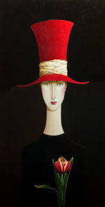 "SOLD ""The Tulip,"" by Danny McBride 24 x 48 – acrylic $4100 (thick canvas wrap without frame)"