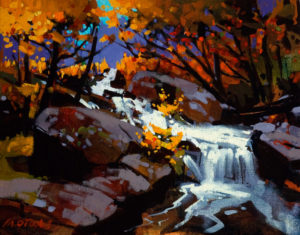 "SOLD ""Tumble Creek,"" by Michael O'Toole 11 x 14 – acrylic $750 Unframed"