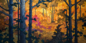 "SOLD ""Tumbling Forest,"" by Phil Buytendorp 24 x 48 – oil $3270 Unframed"