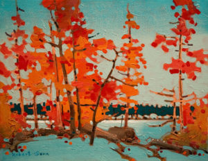 "SOLD ""Twelve Mile Portage, Shammis Island, Lake of the Woods,"" by Robert Genn 11 x 14 – acrylic $2400 Unframed"