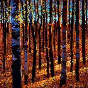"SOLD ""Twilight Time Among Aspens,"" by Michael O'Toole 12 x 12 – acrylic $720 Unframed"