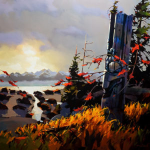 "SOLD ""Twilight Time on the Skeena,"" by Michael O'Toole 40 x 40 – acrylic $4850 Unframed"
