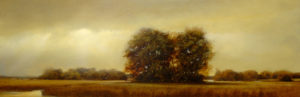 "SOLD ""Twins at Dusk,"" by Renato Muccillo 8 x 24 – oil $2200 Custom framed"