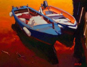 """SOLD """"Two Boats,"""" by Mike Svob 11 x 14 – oil $925 Framed"""