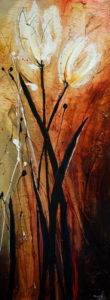 "SOLD ""Two in Amber,"" by Laura Harris 18 x 48 – acrylic $2480 (thick canvas wrap without frame)"