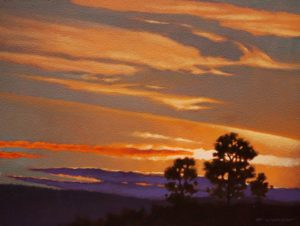 "SOLD ""Under Fiery Skies,"" by Ray Ward 9 x 12 – oil $775 Framed"