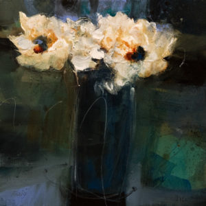 "SOLD ""Unruly Arrangement From the Garden,"" by Susan Flaig 16 x 16 – acrylic/graphite $880 Unframed"