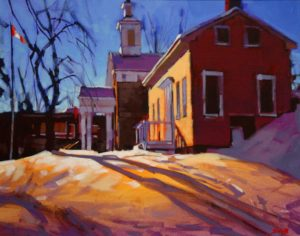 """SOLD """"Upper Canada (Ancaster, Ontario),"""" by Mike Svob 16 x 20 – acrylic $1860 Framed"""