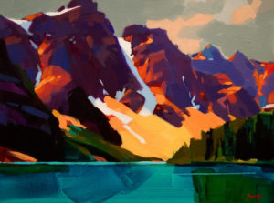 """SOLD """"Valley of the Ten Peaks,"""" by Mike Svob 12 x 16 – acrylic $1210 Framed"""