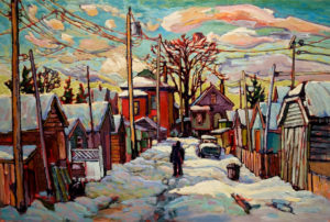 "SOLD ""Vancouver East in February,"" by Ed Loenen 24 x 36 – oil $2640 Framed"