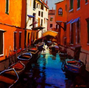 "SOLD ""Venetian Colours,"" by Michael O'Toole 20 x 20 – acrylic $1225 Framed"