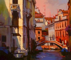 """SOLD """"A Venice Canal,"""" by Mike Svob 20 x 24 – acrylic $2430 Framed"""