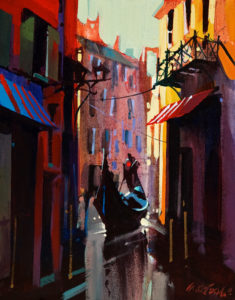 "SOLD ""Venice in Light and Shadow,"" by Michael O'Toole 11 x 14 – acrylic $750 Unframed"