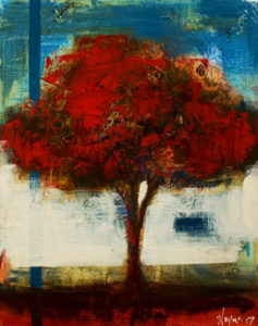 """SOLD """"Vibrant Tree,"""" by Heather Haynes 16 x 20 – mixed media $700 (thick canvas without frame)"""