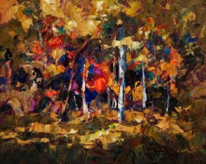 "SOLD ""Vibrant Underbrush,"" by Phil Buytendorp 8 x 10 – oil $580 Framed"