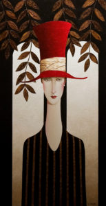 "SOLD ""Vienna and the Red Hat,"" by Danny McBride 24 x 48 – acrylic $4710 Custom framed"