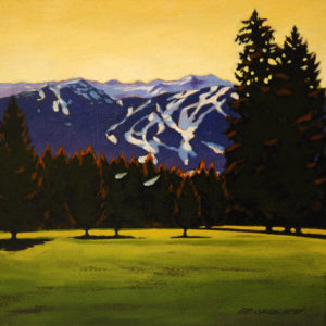 "SOLD ""View from the Fairway,"" by Ray Ward 8 x 8 – oil $615 Framed"