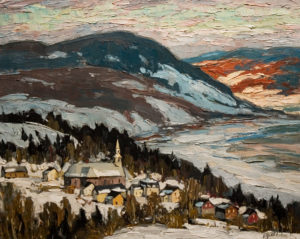 "SOLD ""Village de Charlevoix,"" by Raynald Leclerc 24 x 30 – oil $2750 Unframed"