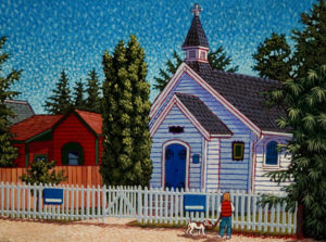 "SOLD ""Village Daycare – Crescent Beach,"" by Michael Stockdale 9 x 12 – acrylic $420 Unframed"