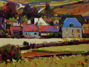 """SOLD """"A Village in Burgundy, France,"""" by Mike Svob 12 x 16 – acrylic $1265 Unframed"""