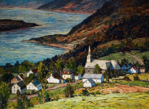 "SOLD ""Village des Eboulements,"" by Raynald Leclerc 36 x 48 – oil $4800 Unframed"
