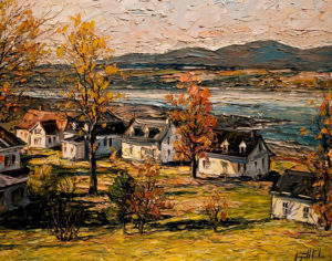 "SOLD ""Villégiature au bord du fleuve,"" by Raynald Leclerc (Riverside Resort) 24 x 30 – oil $2400 Unframed"