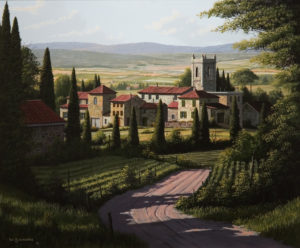 "SOLD ""Vineyards of Tuscany,"" by Bill Saunders 20 x 24 – acrylic $3400 Unframed"