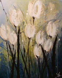 "SOLD ""Waiting for Warmth,"" by Laura Harris 24 x 30 – acrylic $1870 (thick canvas wrap without frame)"
