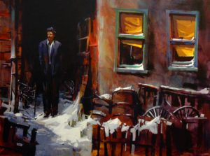 "SOLD ""Waiting on a Friend,"" by Michael O'Toole 30 x 40 – acrylic $3060 Framed"